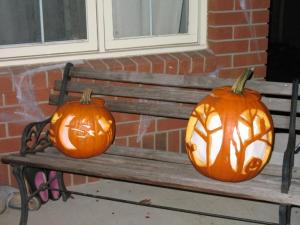 The two pumpkins, carved.